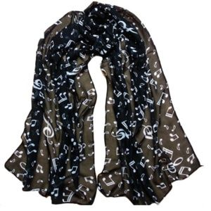 New, black and white musical note print scarf